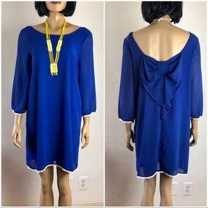 Royal Blue Umgee Dress w/ Bow White Tassel Medium
